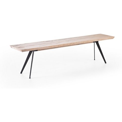 Avantis Dining Bench Rectangular In Oak With Metal Legs