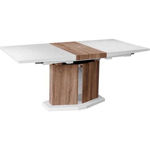 Avery Extendable Dining Table In High Gloss White An...