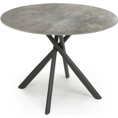 Avesta Round Glass Top Dining Table In Grey