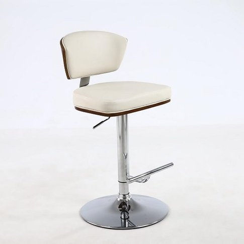 Aviator Bar Stool In Cream Faux Leather With Chrome ...