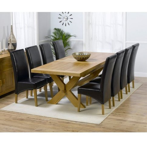 Carlotta Extending Solid Oak Dining Table And 8 Leat...