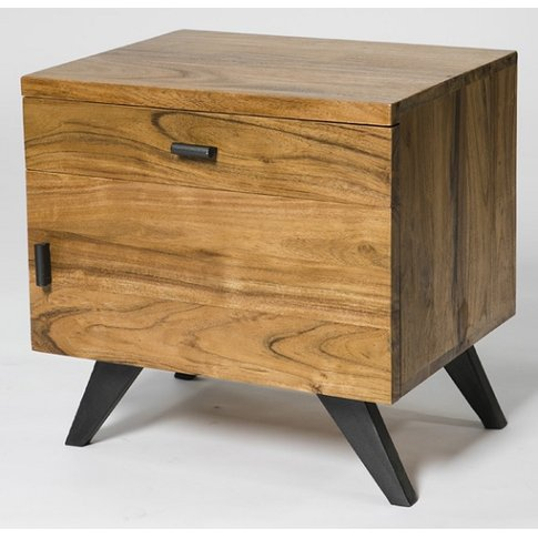 Avoca Storage Chest On Acacia Wood With Metal Legs