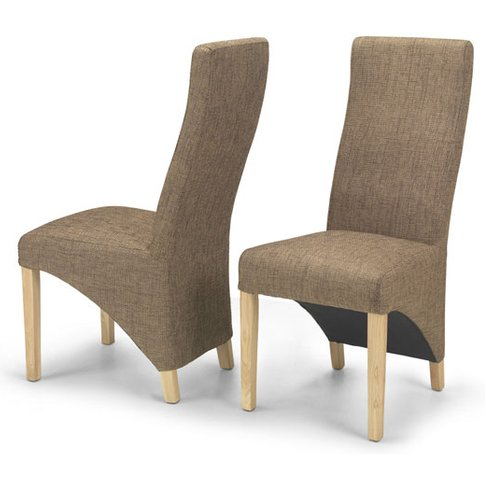 Devon Brown Tweed Dining Chairs In A Pair With Natur...