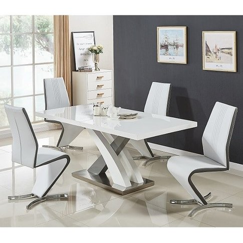Axara Small Gloss Extendable Dining Table Set With 4...
