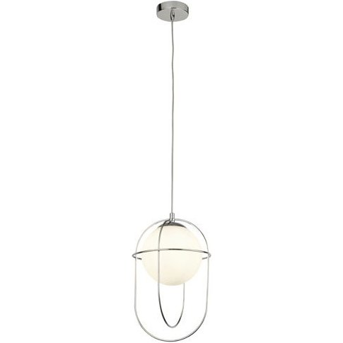 Axis 1 Pendant Light In Chrome With Opal Glass Ball
