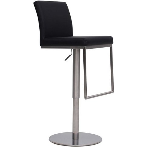 Bahama Bar Stool In Black Pu With Brushed Stainless ...