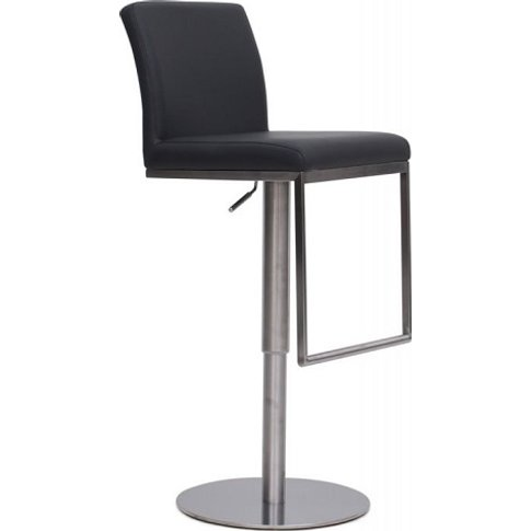 Bahama Bar Stool In Grey Pu With Brushed Stainless S...