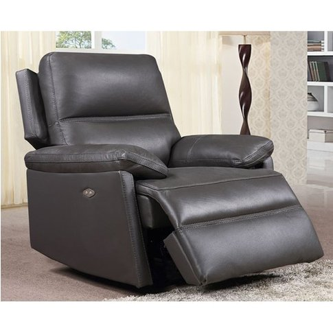 Bailey Faux Leather Electric Recliner Armchair In Grey
