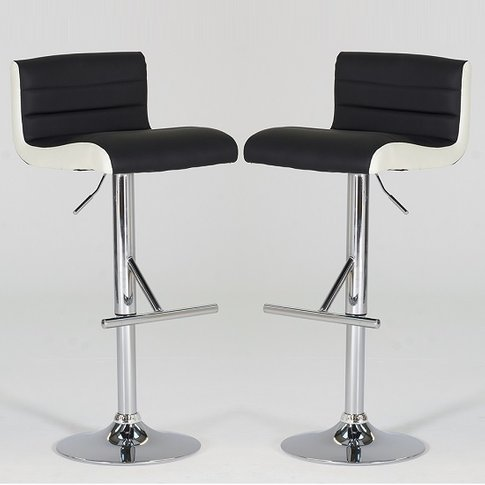 Baldwin Bar Stools In Black And White Faux Leather I...