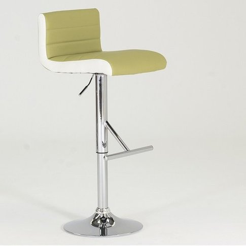 Baldwin Bar Stool In Lime And White Faux Leather