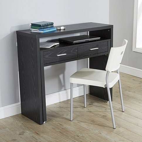 Balin Extendable Desk Or Console Table In Black With...