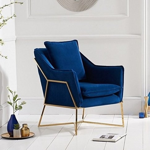Baron Modern Accent Chair In Blue Velvet With Gold F...