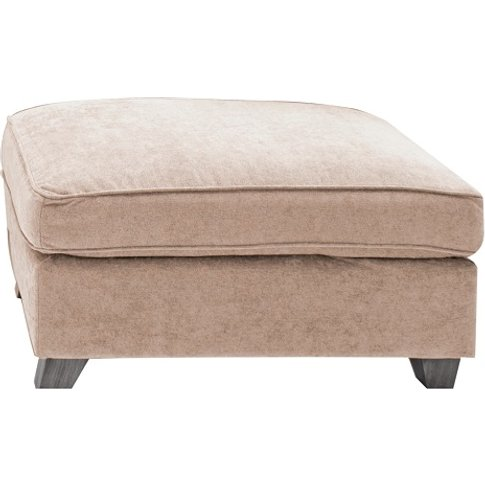 Barresi Chenille Fabric Ottoman In Almond With Woode...