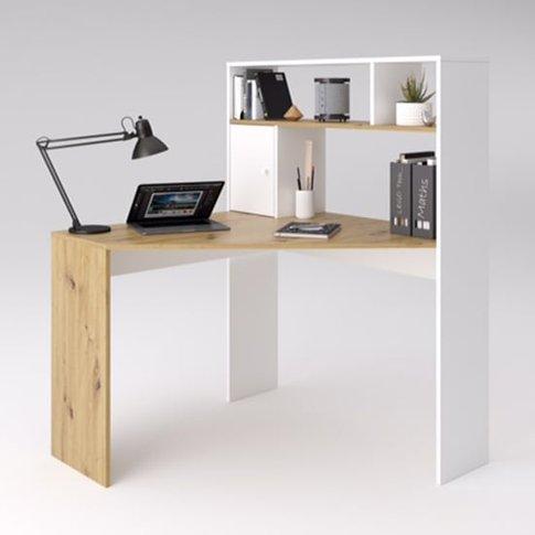 Barrys Wooden Computer Desk In Artisan Oak And White