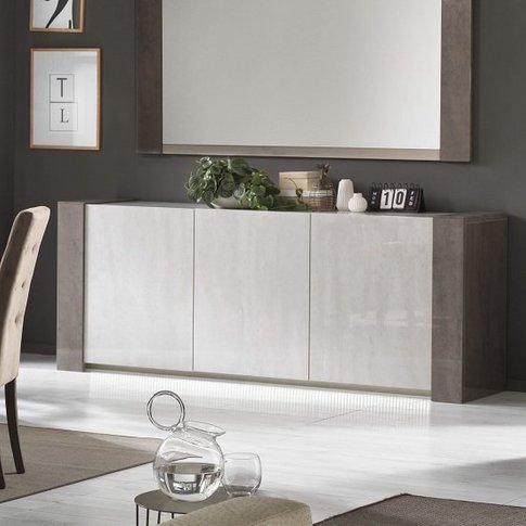 Basix Sideboard In Dark And White Marble Effect Glos...