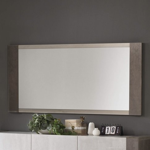 Basix Wall Mirror In Dark And White Marble Effect Gloss