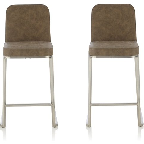 Beckett Retro Bar Stool In Taupe Faux Leather In A Pair