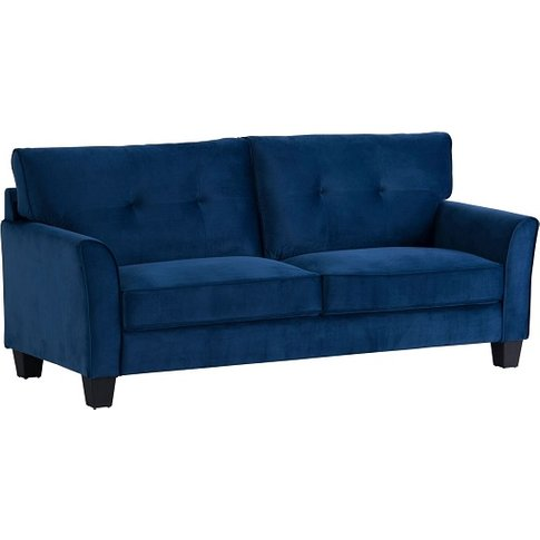 Beckton Fabric 3 Seater Sofa In Blue Velvet With Woo...