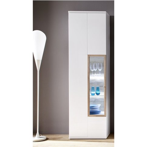 Belina Left Display Cabinet In White With High Gloss...