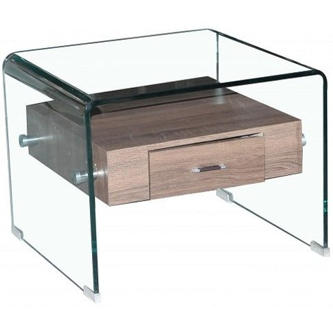 Bellagio Lamp Table In Clear Glass With 1 Drawer
