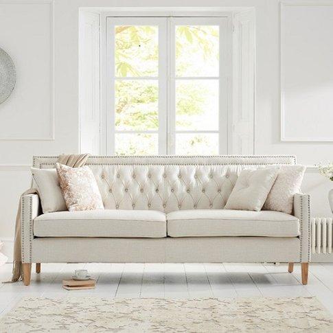 Bellard Fabric 3 Seater Sofa In Ivory White And Natu...
