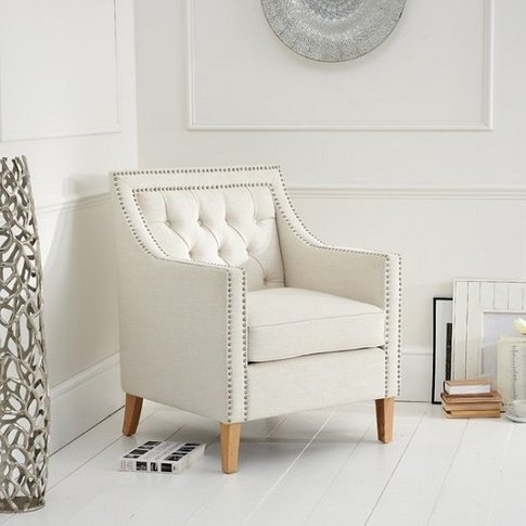 Bellard Fabric Sofa Chair In Ivory White With Natura...