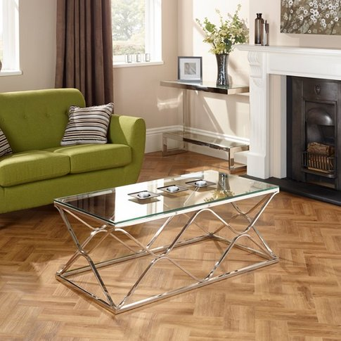 Belmont Glass Coffee Table With Polished Stainless S...