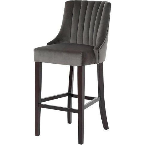 Benito High Back Bar Stool In Grey With Dark Wooden Legs