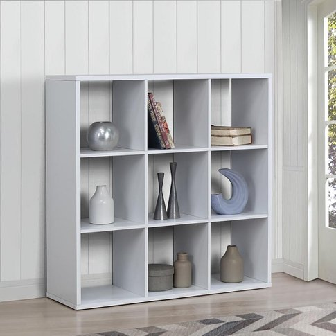 Bergen Shelving Unit Wide In White With 9 Open Compartments