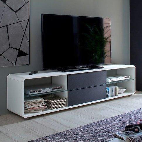 Bethan Modern Tv Stand In Matt White And Anthracite