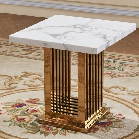 Bettie Marble Effect Lamp Table In White And Rosegol...