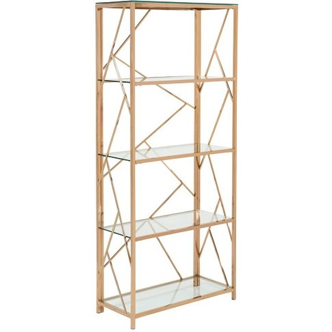 Betty Modern Bookcase In Clear Glass With Rose Gold ...
