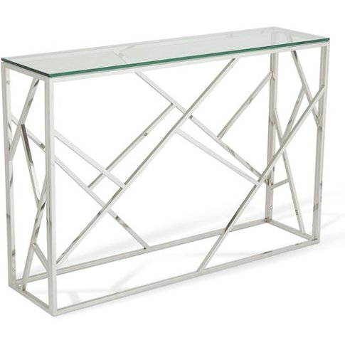 Betty Glass Console Table With Polished Stainless St...