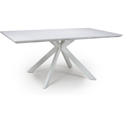Biancon Dining Table In Marble Effect With Grey Veins