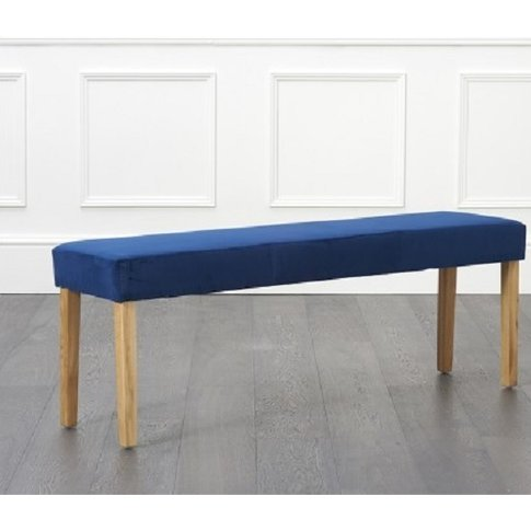 Birlea Dining Bench Large In Blue Plush Velvet With Oak Legs