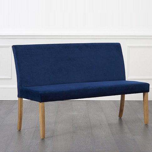 Birlea Dining Bench Large In Blue Plush Velvet With ...