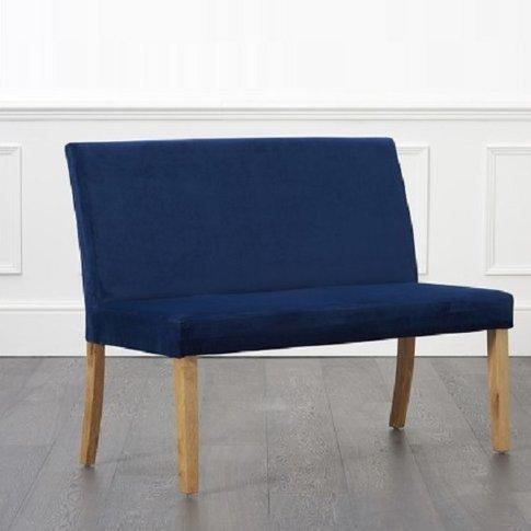 Birlea Dining Bench Small In Blue Plush Velvet With ...
