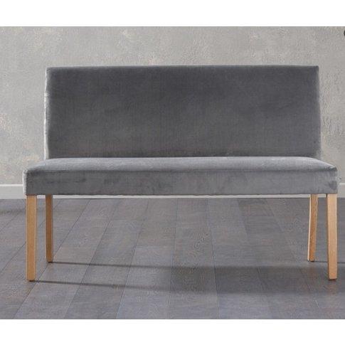 Birlea Dining Bench Large In Grey Plush Velvet With ...