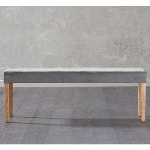 Birlea Dining Bench Large In Grey Plush Velvet And O...