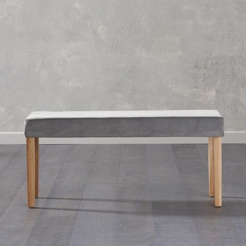 Birlea Dining Bench Small In Grey Plush Velvet And O...