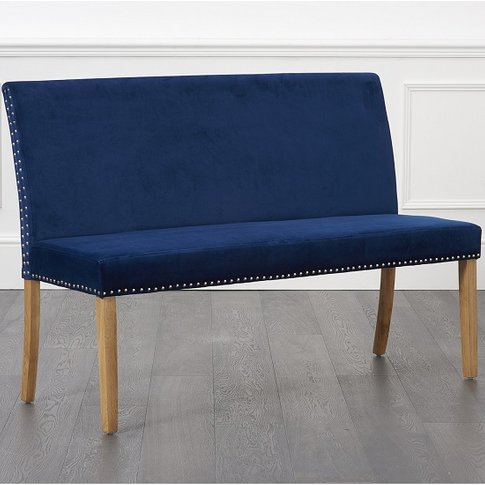Birlea Studded Dining Bench Large In Blue Plush With...