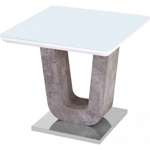 Bisson Glass Lamp Table In White With Stone Effect A...