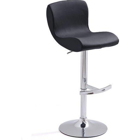 Fresh Bar Stool In Black Faux Leather With Round Chr...
