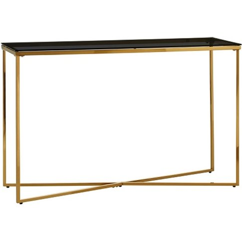 Bleadon Black Glass Console Table With Gold Finish C...