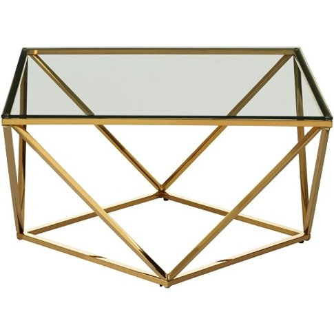 Bleadon Glass Side Table With Gold Finish Twist Base...