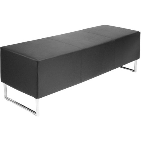 Blockette Bench Seat In Black Faux Leather With Chro...