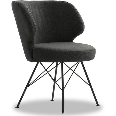 Blokty Modern Fabric Accent Chair In Charcoal With M...