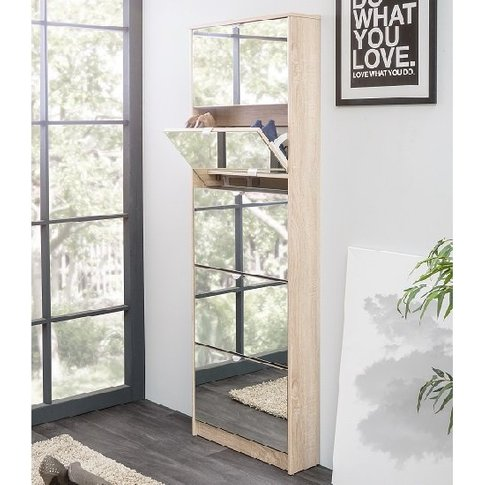 Boddem Mirrored Shoe Cabinet In Sonoma Oak With 5 Fl...