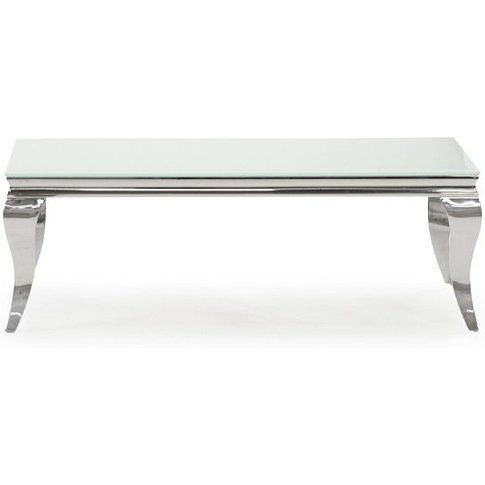 Bolero Glass Coffee Table 130cm In White With Metal ...