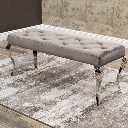 Bolero Dining Bench In Grey Velvet With Polished Met...